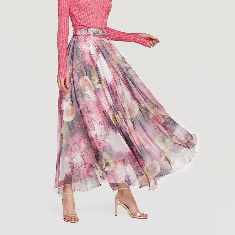 Bohemian Skirt Women Floral Print Mesh Elastic Waist Retro Maxi Skirts White Pink Vintage Women 2018 New Summer Boho Long Skirts