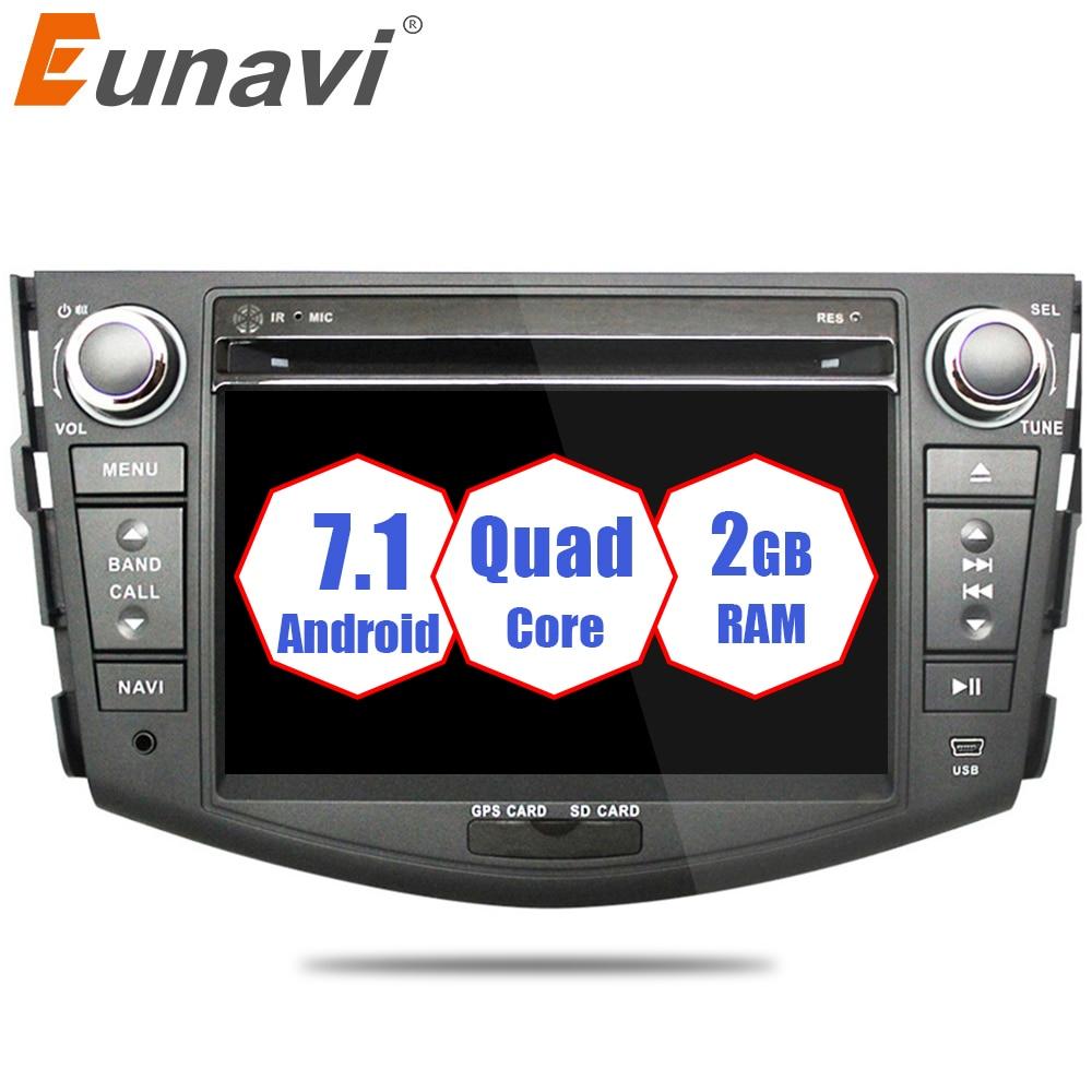 все цены на Eunavi Car DVD 2 din Android 7.1 For Toyota Rav4 2007 2008 2010 2din car pc stereo gps navigation with capacitive screen+wifi онлайн