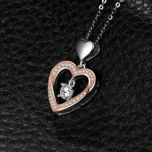 Image 3 - JPalace Heart Gold Silver Pendant Necklace 925 Sterling Silver Choker Statement Necklace Women Silver 925 Jewelry Without Chain