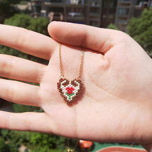 FAIRYWOO Miyuki Flower Necklace Heart Pendant Necklaces Gothic Stainless Steel Gold Chain Choker For Woman Girl Friendship Gifts