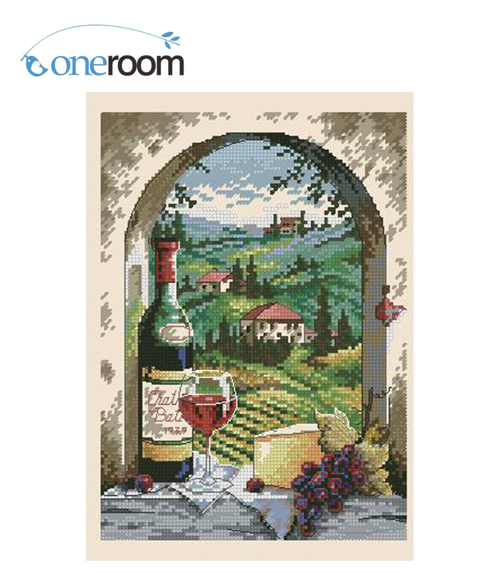 Delicious 1lovely Cute Counted Cross Stitch Kit Dreaming Of Tuscany Vineyard Grapery Vinery Wine Grape Village Dim 06972 6972 Cross-stitch