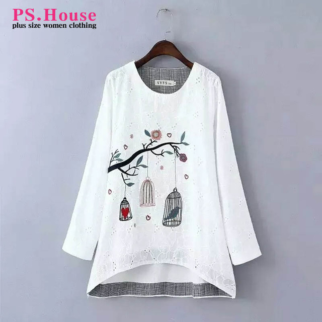 2016 New Spring Style Women Blouse Shirt Bird Embroidery White Shirt Casual Elegant Plus Size Shirt 3XL 4XL Female Blusas NN81