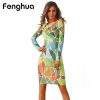 Fenghua Winter Autumn Dresses Women 2017 Casual Floral Print Long Sleeve Dress Sexy Sheath Office Bodycon