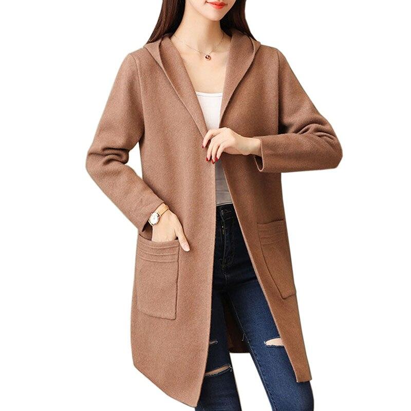 Printemps automne chaud Long Cardigan chandail femmes mode nouveau à manches longues tricoté Cardigans vêtements de dessus pour femmes manteau Crochet chandails