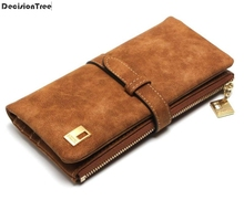 Famous Brand Women Hasp Wallets Nubuck Leather Zipper Suede Wallet Ladies Long Designer Purse Female Clutch handbag carteira