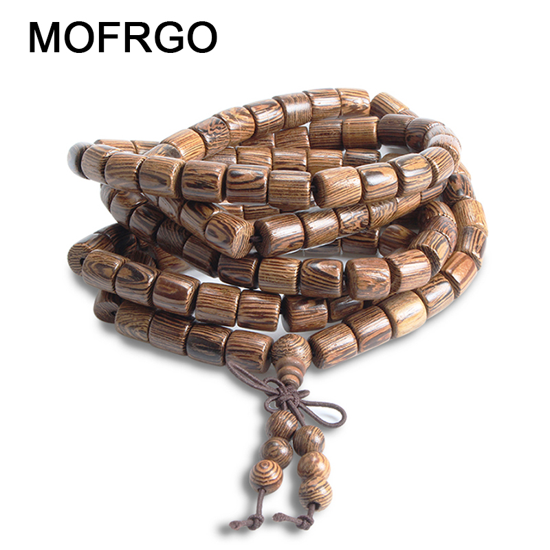 MOFRGO Natural Wenge Prayer 108 Beads Pride Mens Bracelets Charm Bracelets For Men And Women Wood Jewelry Mala Accessories