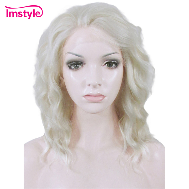 Imstyle Curly Ash Blonde Short Bob Wig Lace Front Wig For Women