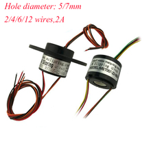 Free Shipping Hollow Slip Ring With 5/7mm Hole Diameter 2/4/6/12 Wires 2A 22mm Spare Part