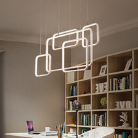 LICAN Modern led pendant Chandelier lights for dining living room Rectangle Circles Ring Chandelier Lighting for kitchens