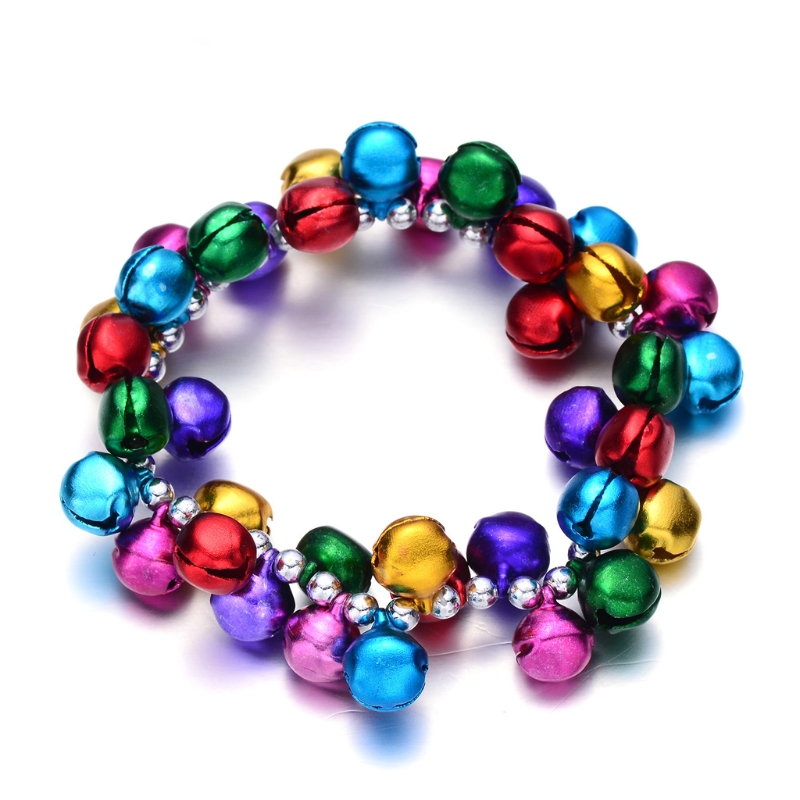 Colorful Jingle Bells Dance Stretch Bracelets Kids Jewelry For Christmas Party