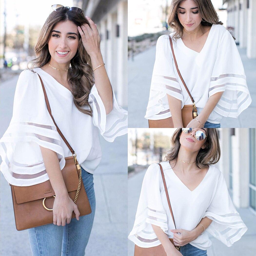 New 2018 Summer Korean Chiffon Blouses Women Mesh Top Fashion Flare Sleeve V-Neck Loose Ladies Office Shirt Female White Blouses