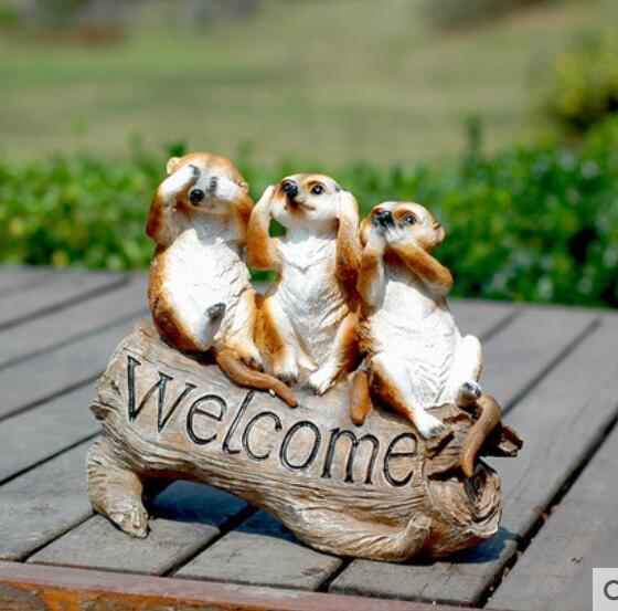 Bonjour birdie bienvenue à meerkat carte de bienvenue jardin cour vert carte de bienvenue animaux ruraux sculpture décoration artisanat