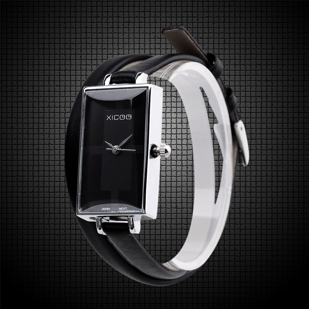 Prix pour 2016 chaude vend haute quatity De Luxe Mode Casual Femmes Dames En Cuir de Courroie De Bande Robe Carré Bracelet À Quartz Montre-Bracelet