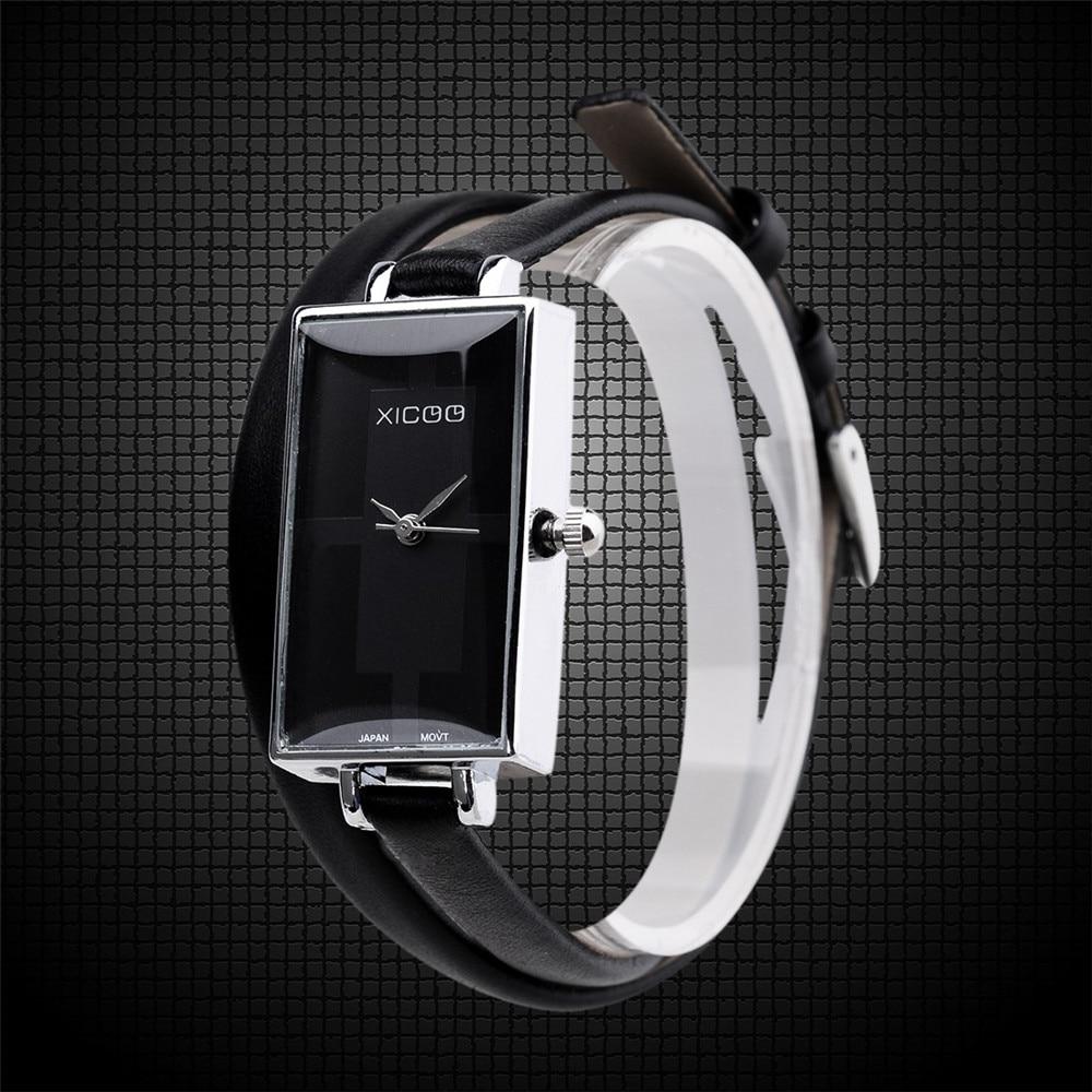 2016 hot sells high quatity Luxury Fashion Casual Women Ladies Leather Band Strap Dress Square Bracelet Quartz Wrist Watch fashion split leather band quartz analog bracelet wrist watch for women black 1 x 377