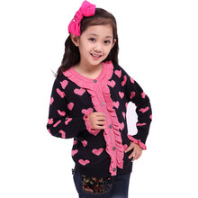 2016 New Age Children Girl Long Sleeve Lace Design Cardigan Beautiful Sweater Shirt Korean Sweet Children Loose Wool Tops Shirts
