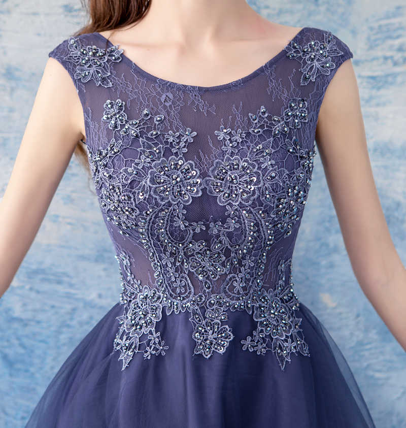 bd2bc11430bb0 ... SSYFashion New Elegant Banquet Cocktail Dress Sleeveless Lace Flower  High/low Asymmetrical Purple Party Gown