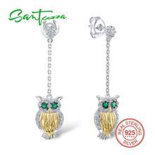 SANTUZZA Silver Owl Earrings For Women 925 Sterling Silver Dangle Earrings Silver 925 with Stones Cubic Zirconia brincos Jewelry