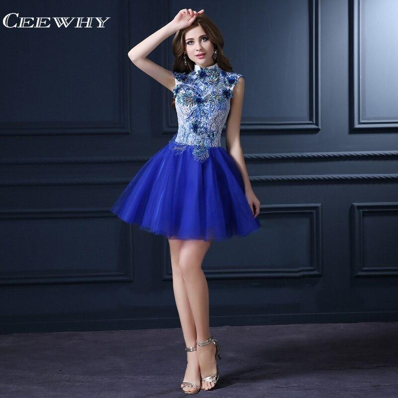 CEEWHY הגב הפתוח וינטג תחרת שמלות 2018 שמלות שיבה הביתה קוקטייל אפליקציות אלגנטית לבוש הרשמי Robe Courte קוקטייל שיק