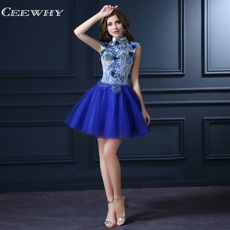 CEEWHY Open Back Vintage Lace Formal Dress Elegant Appliques Cocktail Dresses 2018 Homecoming Dresses Robe Cocktail Courte Chic