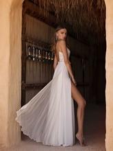 Sexy Smileven Side Split Wedding Dress 2019 Spaghetti Strap Lace Bride Dresses Bridal Gowns Open V Back Custom Made
