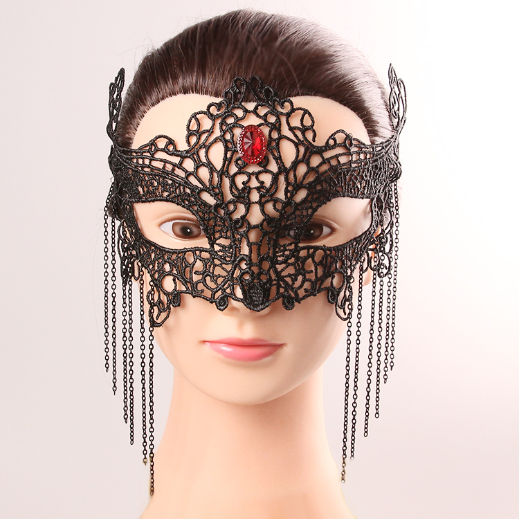 Buy Classic halloween costumes latexes party mask sexy costumes accessorie women Halloween half face mask punk free shipping