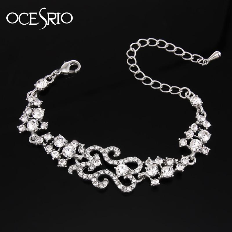 Simple Silver Charm Bracelet chunky austrian crystal metal chain ...