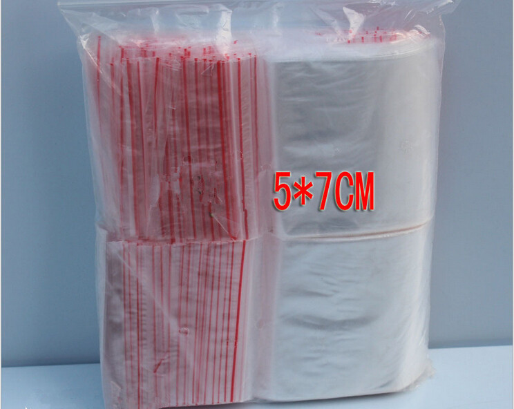 300PCS 5x7cm transparent travel gift packing bag plastic bag for necklace/jewelry/ food small ziplock clear self seal bags pe
