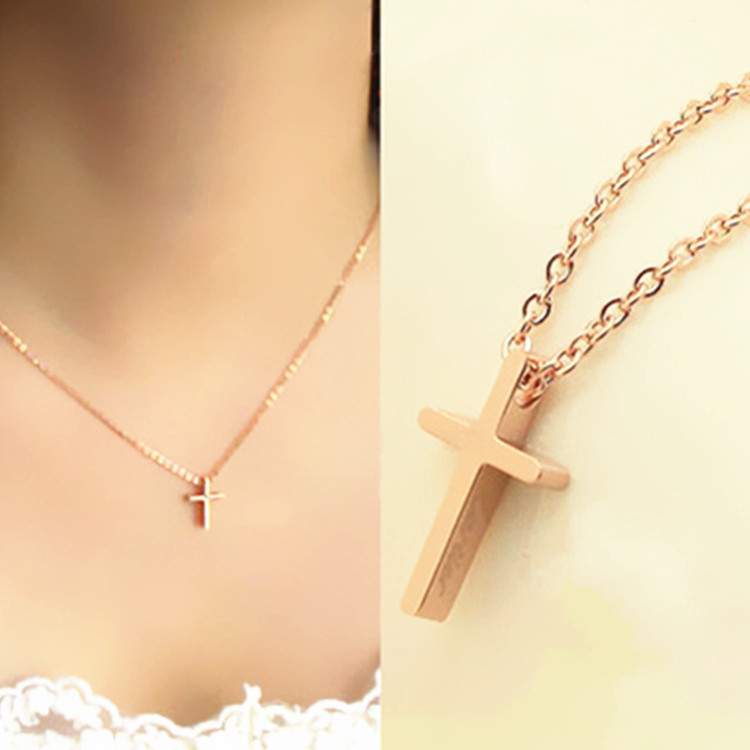 rock 2016 New Gold rose Sliver solid mini cross Pendants & Necklaces, statement necklace Woman lady Hot SALE fashion Jewelry