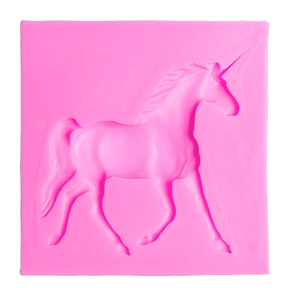 Horned horse Craft Relief Chocolate confectionery Silicone Mold Fondant Cake Kitchen Decorating used molding Tool FT-1059