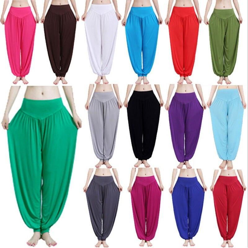 XXL plus size sport women yoga pants Colorful Harem Modal bloomers Dance Yoga TaiChi Full Length Pants Smooth legging Trouser plus size striped harem pants