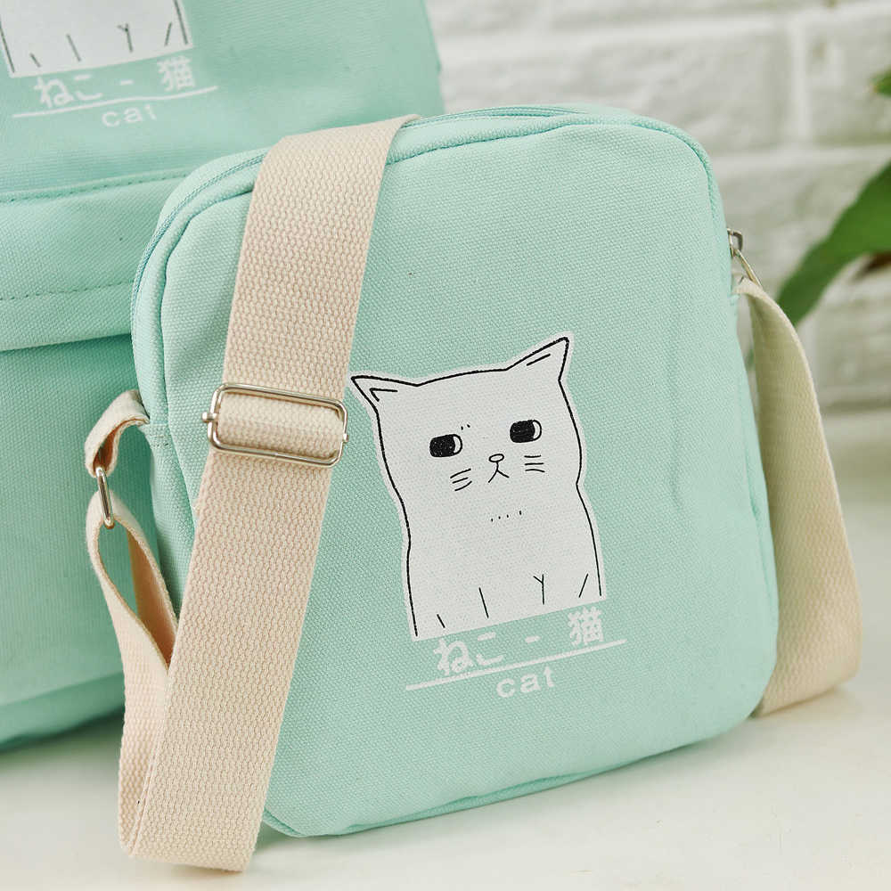 e921032eb4 ... Women Backpack Cat Printing Canvas School Bags For Teenager Girls  Preppy Style 3 Set/PC ...