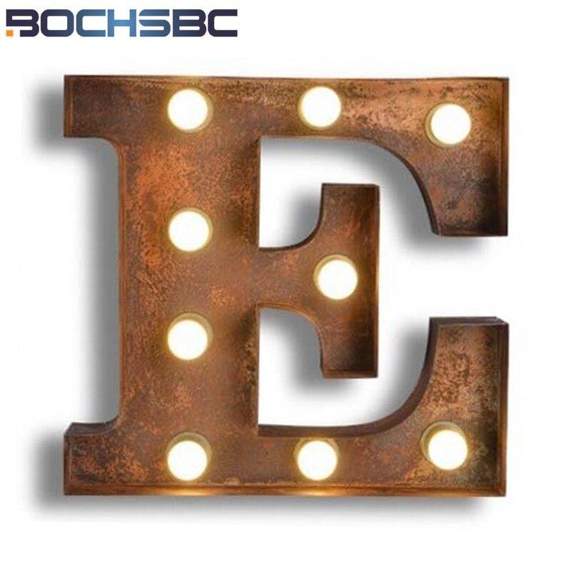 BOCHSBC кафе логотип E настенный светильник Книги по искусству деко лампы письма E светодиодный лампы металлические буквы свет для Винтаж Костю