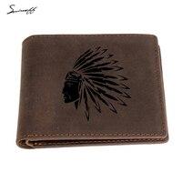 Hint Elder Sitting Bull Baş Erkekler Hakiki Deri Cüzdan Lazer Engrave Portre Kısa Cüzdan Erkek Zip cep Kart Çanta