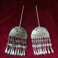 Costume Chinese Clothing Accessories Handmade Miao Silver Hair Ornaments Step Shake Hairpin Hairpin Double Bird Flow