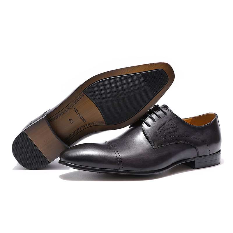 Formal Shoes Shoes Felix Chu Mens Dress Shoes Solid Colors In Calfskin Apron Toe Oxford Brown Black Genuine Leather Lace Up Mens Formal Shoes Ture 100% Guarantee