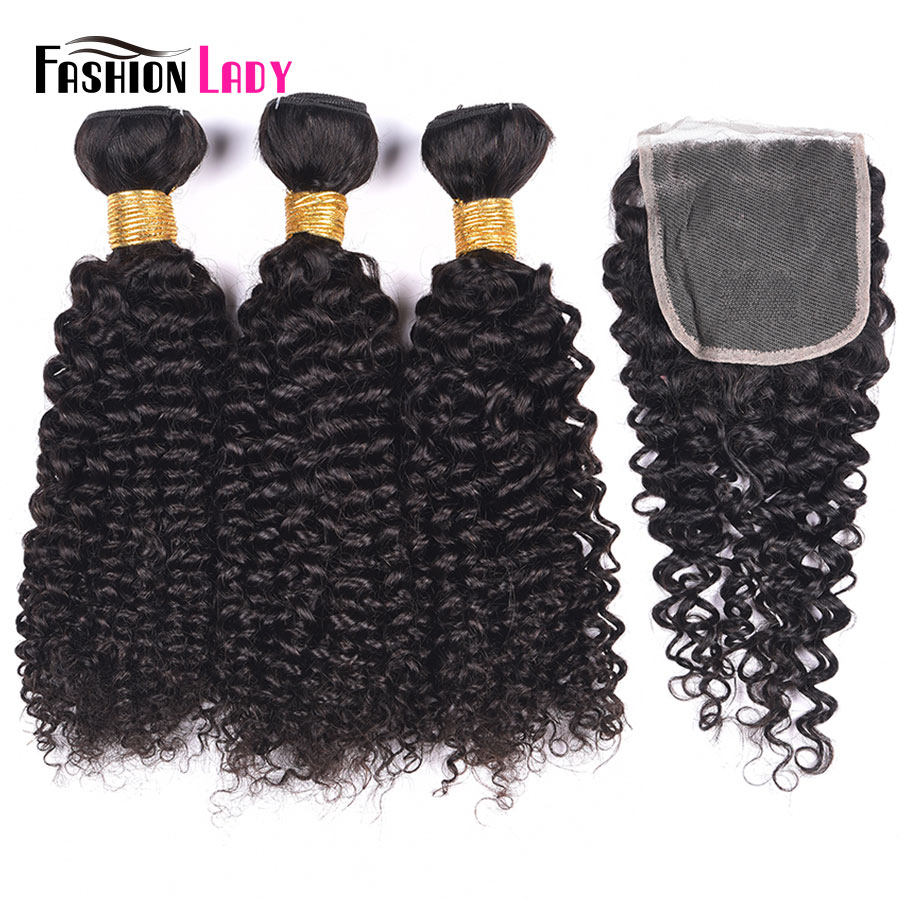 Fashion Lady Pre-Colored Brazilian Curly Hair Bundles With Closure 100% Human Hair Natural Color 3 Bundles With Closure Non-Remy