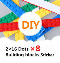 8pcs/bag 2*16 Dots DIY Building Blocks Sticker Toys ninjago Educational Base Plate Anime Floors Compatible With LegoING for gift(China)
