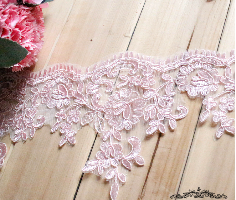 Sequin Fabric Real 2017 Hot Sale Pink Lace Wedding Dress Head Ornaments Diy Craft Materials Embroidery Curtain Decoration L1501