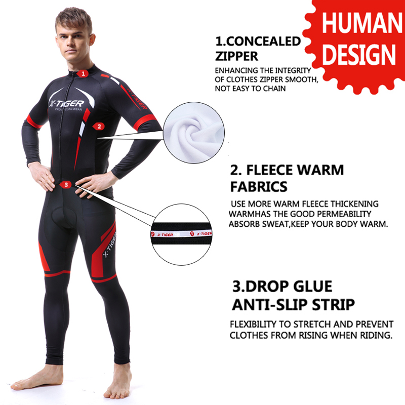 X TIGER Winter Thermal Fleece Men's Pro Cycling Jersey Set Bicycle Suit Long Sleeves Outdoor Sportswear Climbing Riding Clothing-in Cycling Sets from Sports & Entertainment    2