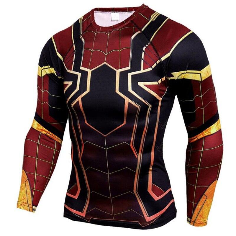 Raglan Sleeve Spiderman 3D Printed   T     shirts   Men Compression   Shirts   Long Sleeve Crossfit Tops Tees Gyms Fitness   T  -  shirt   Rashguard