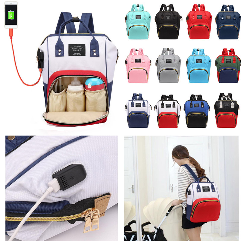 USB Diaper Bag For Mom Fashion Travel Backpack For Women Bolsa Maternidade Support Overseas Warehouse