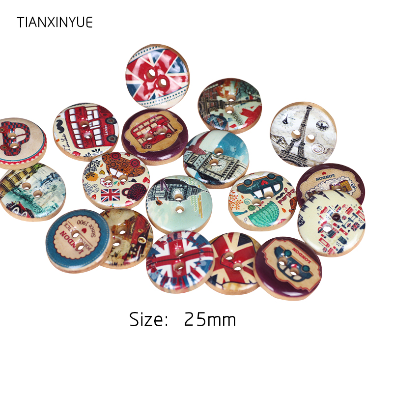 25mm England wooden buttons two holes Natural Wooden Round ...