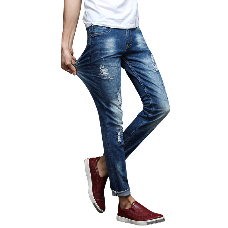 2017 New Spring Summer men jeans brand high quality cotton fitness stretch straight jeans homme male denim trousers