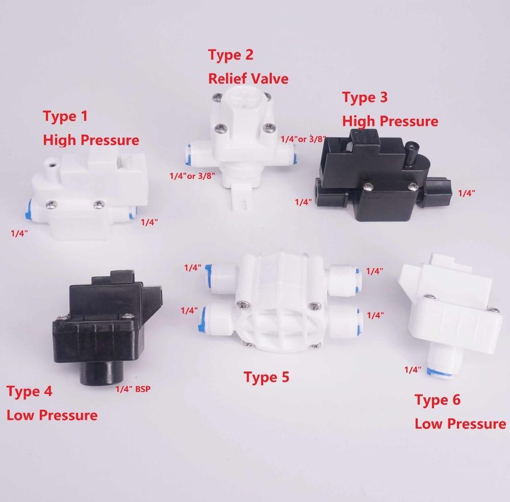 Подходит для трубки с наружным диаметром 1/4 дюйма 3/8 дюйма, Съемный клапан низкого/высокого давления, соединительный элемент обратного осмо...