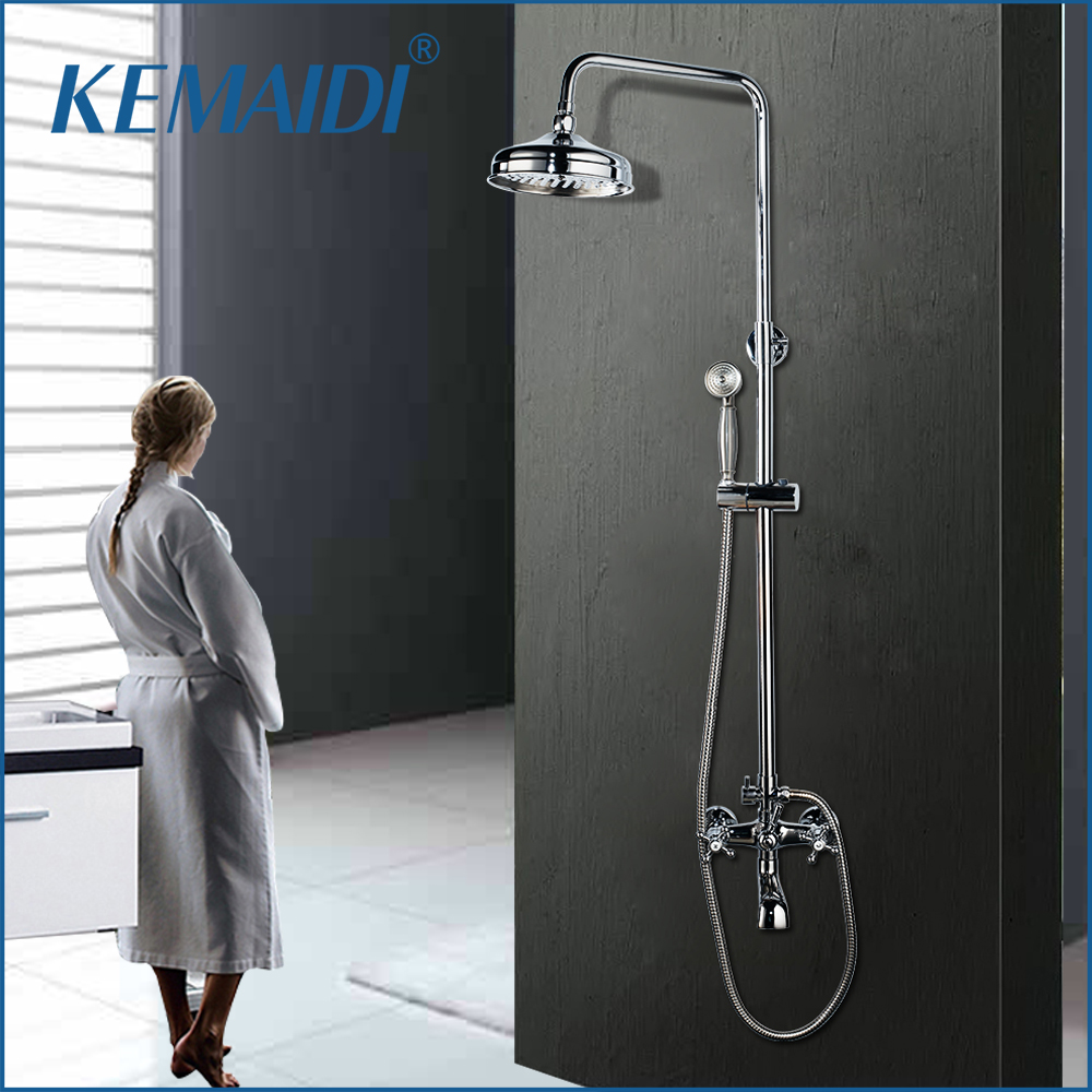 Earnest Kemaidi Bath Shower Mixer With Hand Shower Chrome Solid Brass Silver-plated Finish Bathroom Shower Set Rain Shower Head Tap Shrink-Proof Shower Equipment
