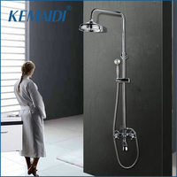 KEMAIDI Bath Shower Mixer with Hand Shower Chrome Solid Brass Silver plated Finish Bathroom Shower Set Rain Shower Head Tap