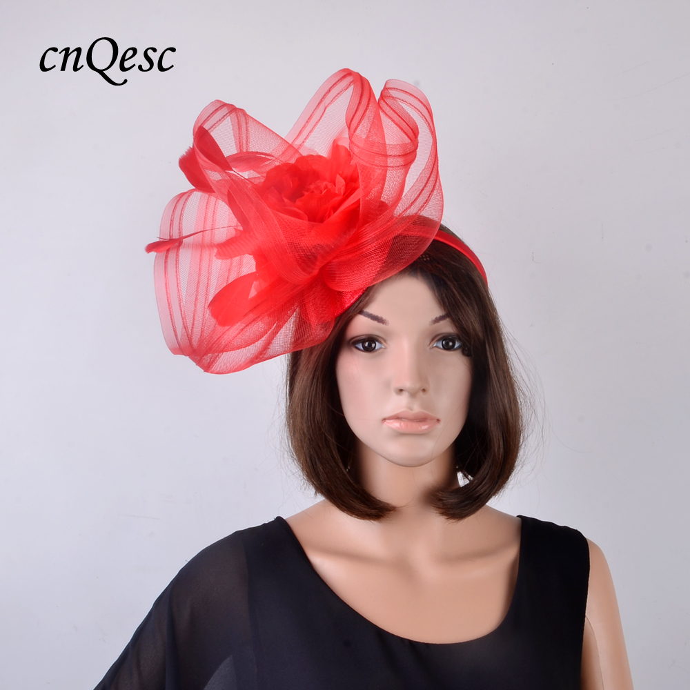 Red Large Church Hat Hair Accessories With Feathers And Silk Flower
