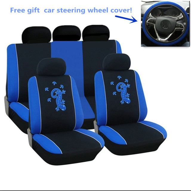 Polyester Fabric Gecko Embroidery embroidery 9pcs car seat covers +