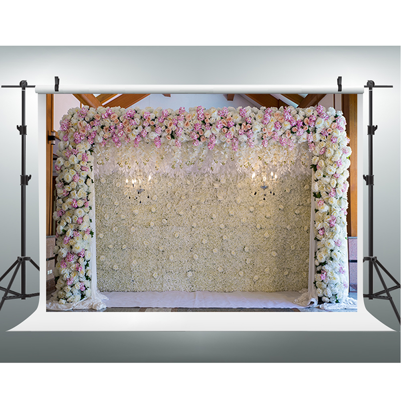 Wedding Photography Backdrops White and Purple Flower Digital Printing Background Fantasy Door Photo Studio Portrait Shooting 1 design laser cut white elegant pattern west cowboy style vintage wedding invitations card kit blank paper printing invitation