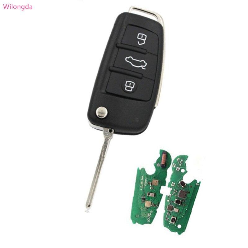 Wilongda Auto Smart Key 3 bouton 433 mhz 8e puce pour audi A6 Q7 voiture clé livraison gratuite